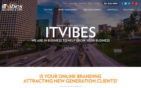 Screenshot of Home Page itvibes.com - Houston Web Design, Social Media, Online Marketing, SEO, Web Development in The Woodlands, Texas - captured Sept. 18, 2015