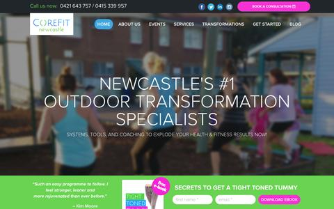 Screenshot of Home Page corefitnewcastle.com.au - Group Personal Training – Find the Best Personal Trainers in Newcastle at CoreFit Newcastle - captured July 25, 2015