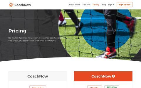 Screenshot of Pricing Page coachnow.io - Pricing - CoachNow - captured July 16, 2018