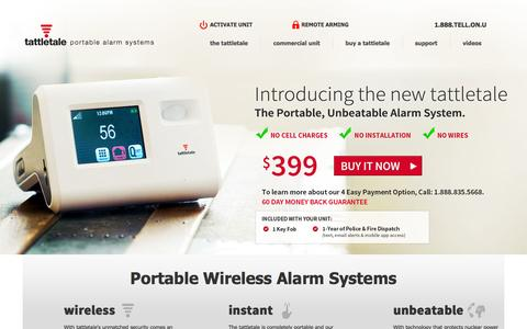 Screenshot of Home Page tattletale.com - Portable DIY Wireless Alarm Systems for Apartments, Small Business, Homes, Dorms | tattletale - captured Oct. 9, 2014