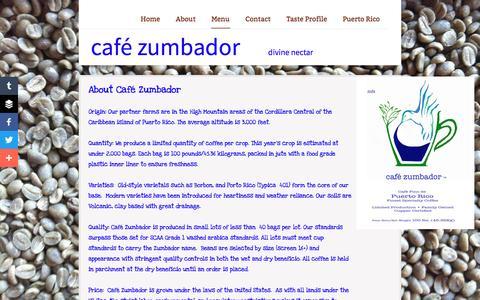Screenshot of Menu Page zumbadorcoffee.com - Coffee Details - captured April 9, 2016