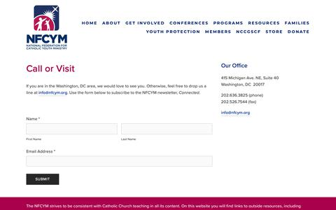 Screenshot of Contact Page nfcym.org - Contact — NFCYM - captured Oct. 23, 2018