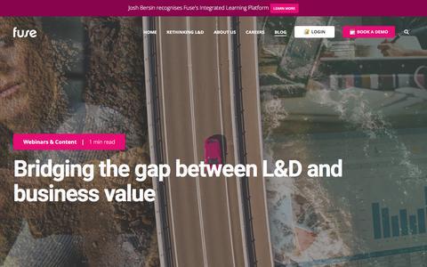 Screenshot of Blog fuseuniversal.com - Bridging the gap between L&D and business value - captured July 30, 2019
