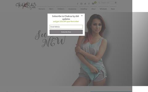 Screenshot of Home Page chakrasbydidi.com - Chakras by didi - stylish yoga inspired apparel - captured July 12, 2016