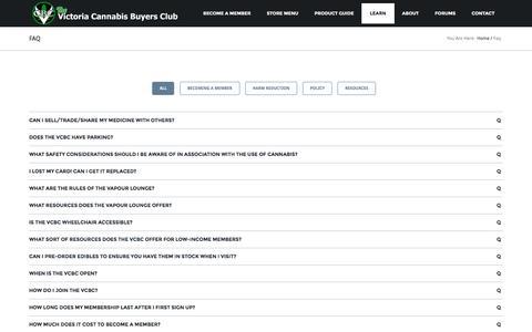 Screenshot of FAQ Page v-cbc.ca - FAQ - Victoria Cannabis Buyers ClubVictoria Cannabis Buyers Club - captured Jan. 25, 2017
