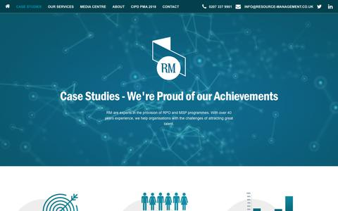 Screenshot of Case Studies Page resource-management.co.uk - Case Studies | Resource Management | Recruitment Process Outsourcing - captured Oct. 18, 2018