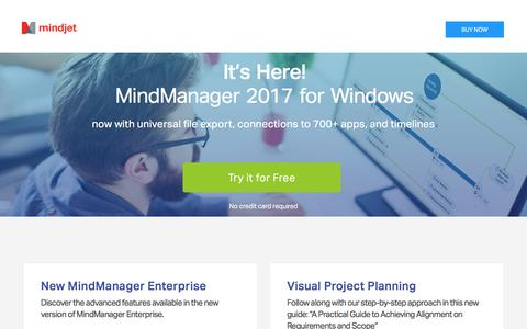 Screenshot of Trial Page mindjet.com - Mind Mapping Software for Visualizing Ideas | Official Site - captured Feb. 8, 2017