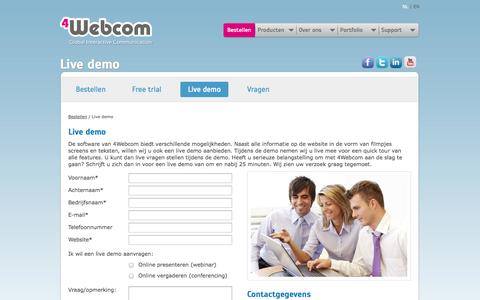 Screenshot of Trial Page 4webcom.com - Live Demo - Vul het contactformulier in voor een gratis live demo - captured Oct. 7, 2014