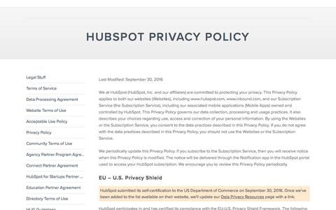 Screenshot of Privacy Page hubspot.com - Privacy Policy - captured Dec. 1, 2016