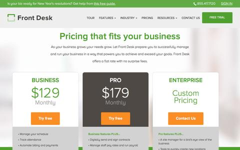 Screenshot of Pricing Page frontdeskhq.com - Pricing page - captured Jan. 20, 2016