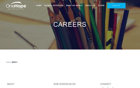 Screenshot of Jobs Page onehope.net - Careers | OneHope - captured Sept. 21, 2018