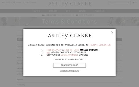 Screenshot of Terms Page astleyclarke.com - Terms & Conditions | British Fine Jewellers | Astley Clarke - captured July 13, 2018