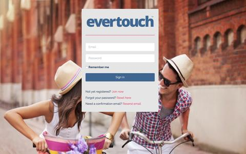 Screenshot of Login Page evertouchcontacts.com - Evertouch Contacts - captured Jan. 31, 2016