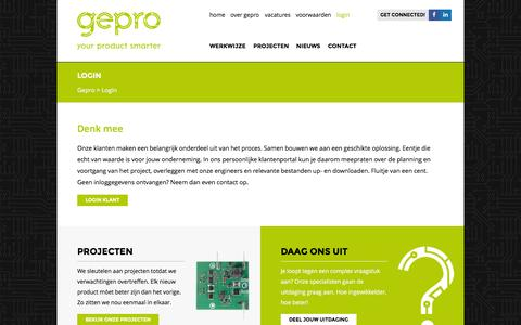 Screenshot of Login Page gepro-electronics.nl - Login - Gepro Electronics - captured July 9, 2016