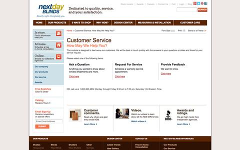 Screenshot of Contact Page Support Page nextdayblinds.com - Next Day Blinds Customer Care - captured Oct. 25, 2014