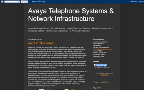 Screenshot of Home Page avaya-ipoffice.blogspot.com - Avaya Telephone Systems & Network Infrastructure - captured Jan. 28, 2015