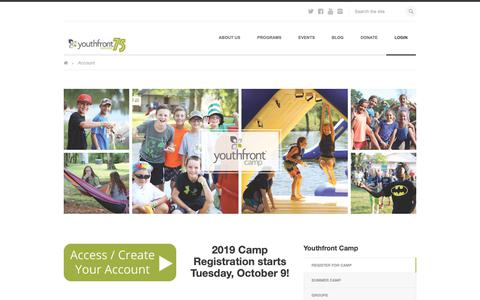 Screenshot of Login Page youthfront.com - Account | Youthfront - captured Nov. 6, 2018