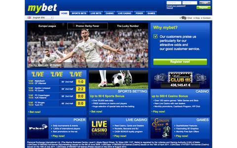 Screenshot of Home Page mybet.com - Sports Bets Casino Poker Live Casino | Homepage | mybet - captured Sept. 19, 2014