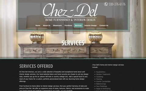 Screenshot of Services Page chez-del.com - Furniture Design Services | Akron, OH | Chez-Del - captured Jan. 27, 2016