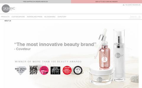 Screenshot of About Page iloveskininc.com - About Us  - Skin Inc - Skin Supplement Bar - captured Sept. 22, 2018