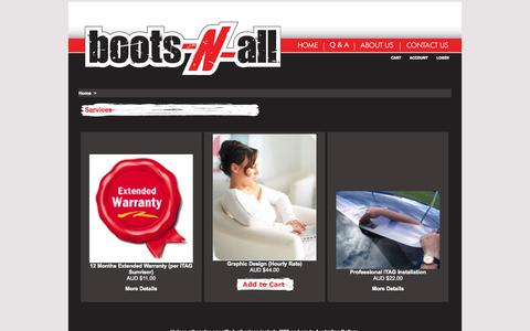 Screenshot of Services Page boots-n-all.com.au - Services - captured Oct. 6, 2014