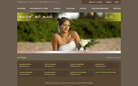 Screenshot of Menu Page marrymemaui.com - Maui Wedding Packages   Wedding Packages in Maui   Maui Beach Weddings - captured Nov. 27, 2016