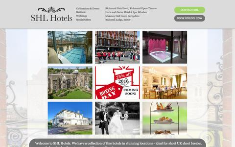 Screenshot of Home Page shlhotels.com - SHL Hotels, Short breaks UK - captured Dec. 24, 2015
