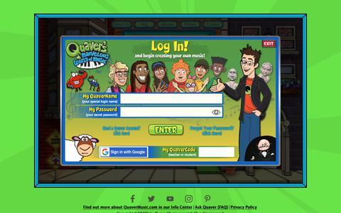 Screenshot of Login Page quavermusic.com captured Sept. 30, 2018