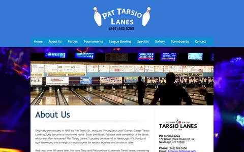 Screenshot of About Page tarsiolanes.com - Tarsio Lanes Newburgh NY - High energy bowling entertainment experience! - About Us - captured Oct. 20, 2018