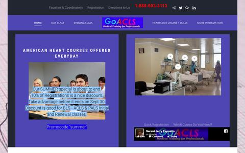 Screenshot of Home Page goacls.com - GoACLS  - BLS ACLS PALS Everyday - captured Sept. 29, 2018