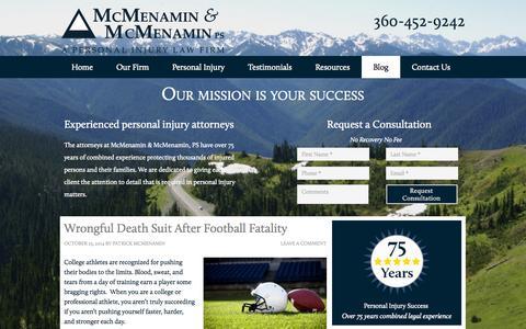 Screenshot of Blog mcmenaminlaw.com - Blog | Personal Injury Attorneys | Port Angeles, Washington - captured Oct. 27, 2014