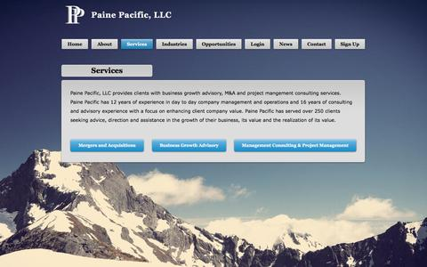 Screenshot of Services Page painepacific.com - Paine Pacific investment banking, Paine Pacific Portland Oregon growth - captured Oct. 18, 2016