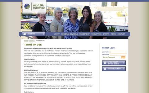 Screenshot of Terms Page arizonaforward.org - Terms Of Use - Arizona Forward - captured Sept. 30, 2014