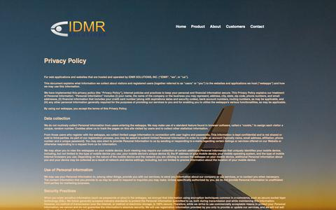 Screenshot of Privacy Page idmr-solutions.com - idmr | policies - captured Oct. 1, 2018