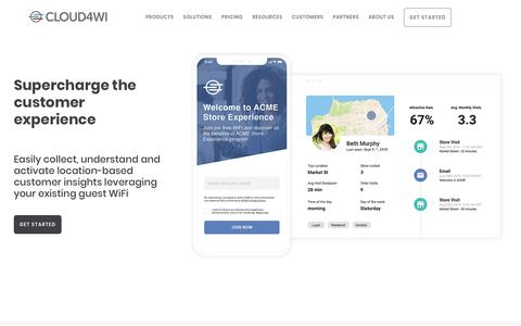 Screenshot of Home Page cloud4wi.com - Cloud4Wi   Guest WiFi and Location-based Marketing  Cloud4Wi - captured Nov. 10, 2019