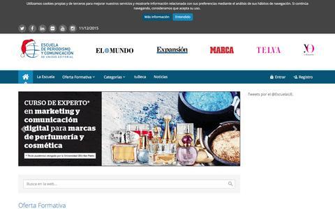 Screenshot of Home Page escuelaunidadeditorial.es - Inicio | Escuela de Periodismo y Comunicación de Unidad Editorial - captured Dec. 10, 2015
