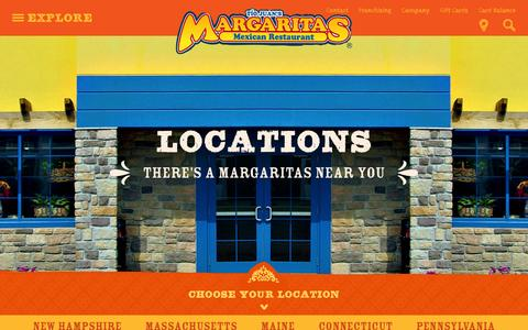 Screenshot of Locations Page margs.com - Locations   Margaritas Mexican Restaurant - captured Feb. 12, 2016