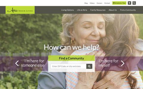 Screenshot of Home Page atriaseniorliving.com - Assisted Living and Retirement Communities | Atria Senior Living - captured Dec. 30, 2016