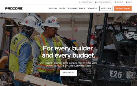 Screenshot of Pricing Page procore.com - (1) New Message! - captured July 23, 2019