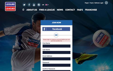 Screenshot of Signup Page leisureleagues.net - Local 5 & 6 a side football leagues | Leisure Leagues - captured May 17, 2017