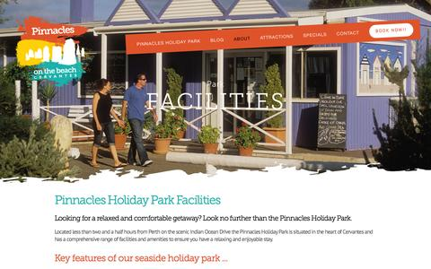 Screenshot of About Page pinnaclesholidaypark.com.au - Facilities — Pinnacles Holiday Park on the beach, Cervantes - captured March 15, 2016