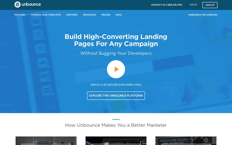 Screenshot Landing Pages: Build Publish & Test Without I.T. | Unbounce