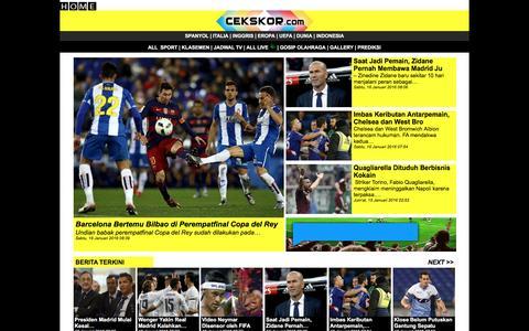 Screenshot of Home Page cekskor.com - Cekskor, Jadwal, Hasil dan Berita Olahraga Secara Live - captured Jan. 15, 2016