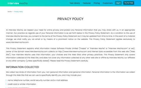 Interview Mocha Privacy Policy