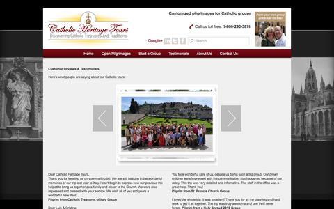 Screenshot of Testimonials Page catholicheritagetours.com - Customer Reviews – Catholic Heritage Tours - captured Sept. 29, 2014