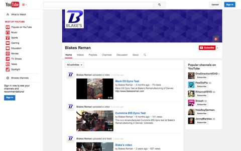 Screenshot of YouTube Page youtube.com - Blakes Reman  - YouTube - captured Oct. 23, 2014