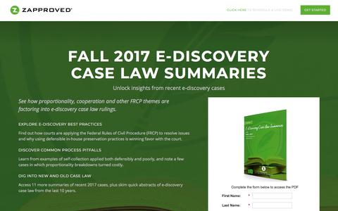 Screenshot of Landing Page zapproved.com - Zapproved's E-Discovery Case Law Summaries, Fall 2017 Volume - captured March 4, 2018
