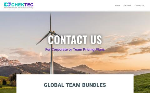 Screenshot of Pricing Page chektec.com - Pricing Contact Us – Workplace Safety, Health and Environment - captured Dec. 6, 2018