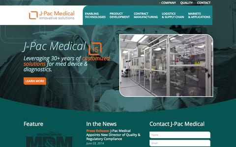 Screenshot of Home Page j-pacmedical.com - About J-Pac Medical: Innovative Solutions - captured Sept. 30, 2014