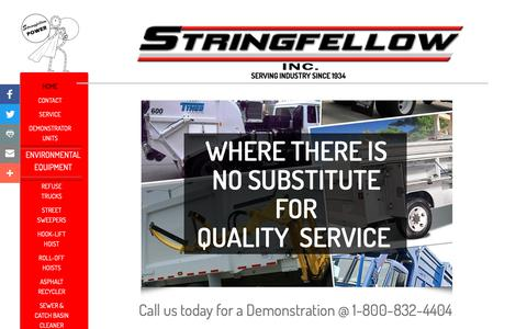 Screenshot of Home Page stringfellow.bz - Stringfellow incorporated - Heil Environmental Equipment, Reading Service Bodies, Tymco Street Sweepers - captured Nov. 18, 2018